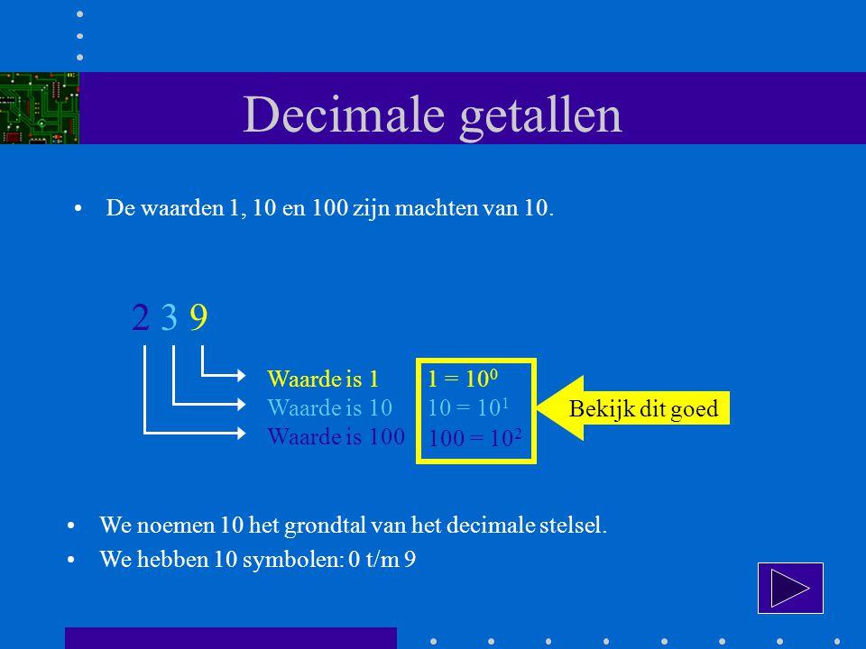 Decimale getallen 2 3 9 De waarden 1, 10 en 100 zijn machten van 10.