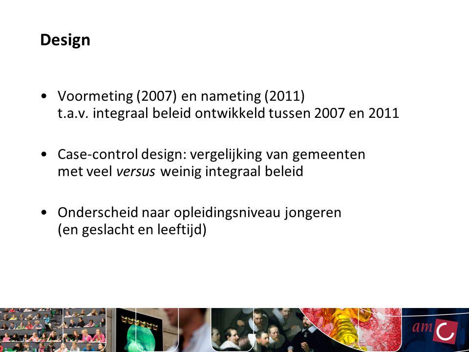Design Voormeting (2007) en nameting (2011) t.a.v. integraal beleid ontwikkeld tussen 2007 en 2011.
