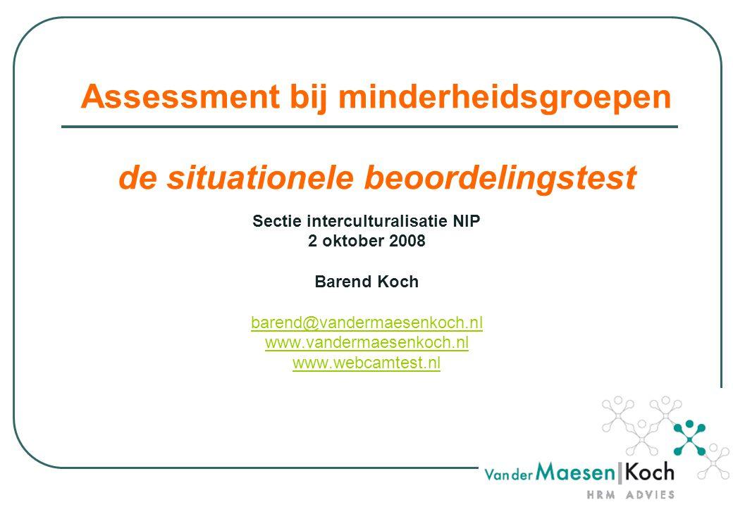 Assessment bij minderheidsgroepen de situationele beoordelingstest