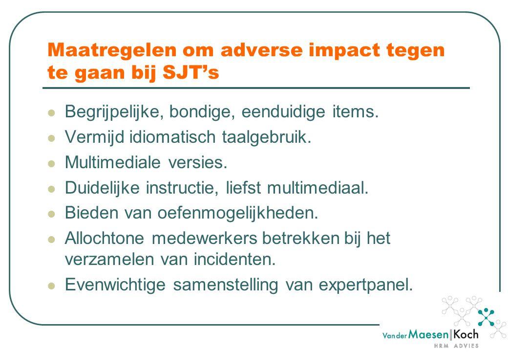Maatregelen om adverse impact tegen te gaan bij SJT's