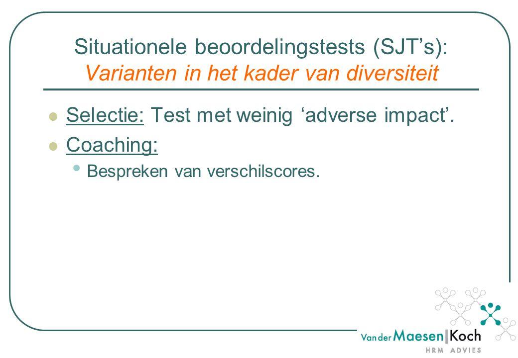 Situationele beoordelingstests (SJT's): Varianten in het kader van diversiteit