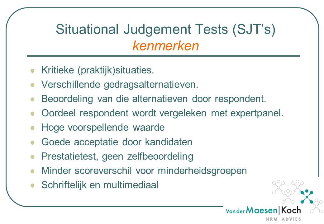 Situational Judgement Tests (SJT's) kenmerken