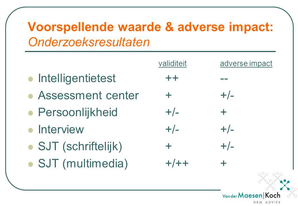 Voorspellende waarde & adverse impact: Onderzoeksresultaten