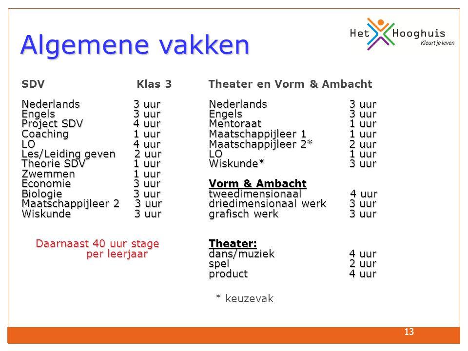 Algemene vakken SDV Klas 3 Theater en Vorm & Ambacht