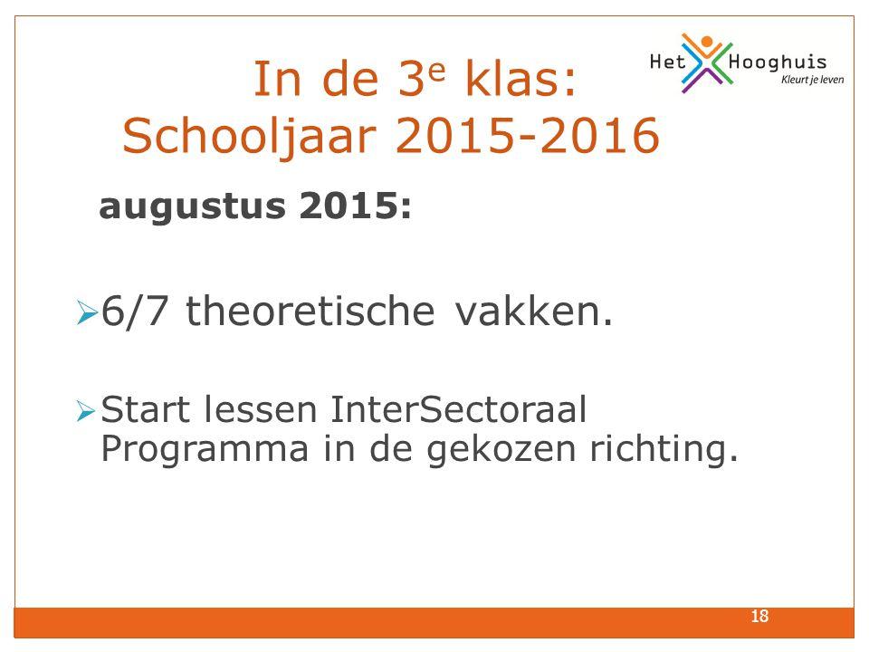 In de 3e klas: Schooljaar 2015-2016