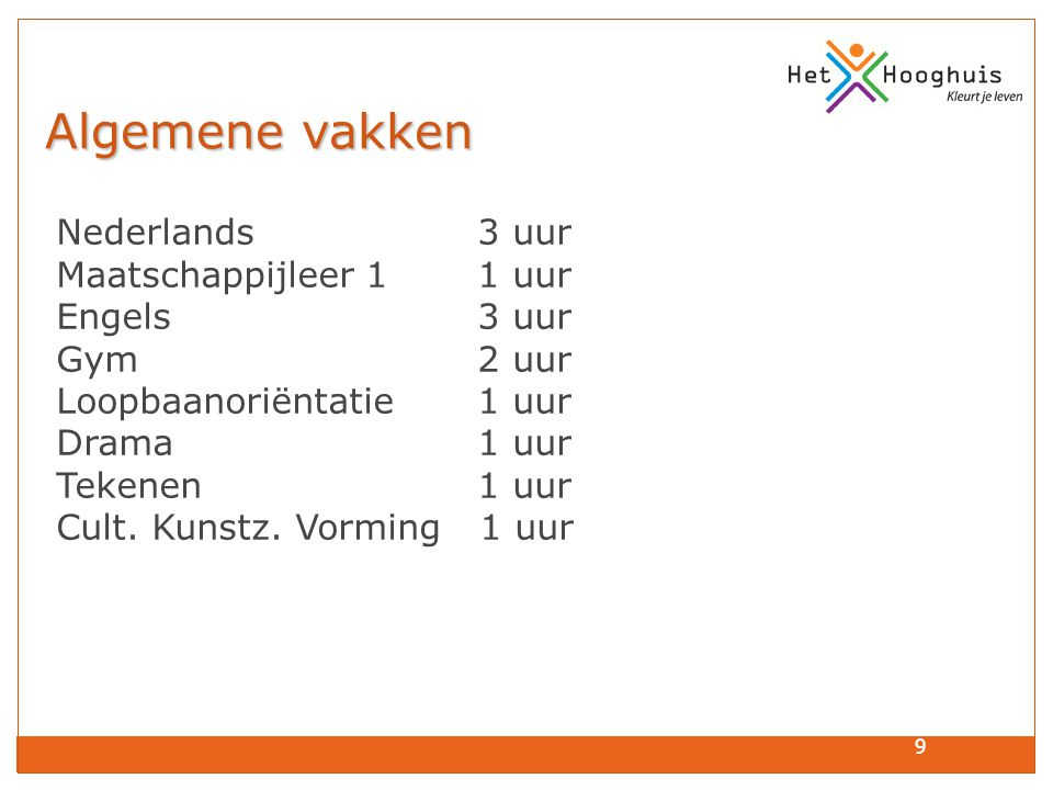 Algemene vakken Nederlands 3 uur Maatschappijleer 1 1 uur Engels 3 uur