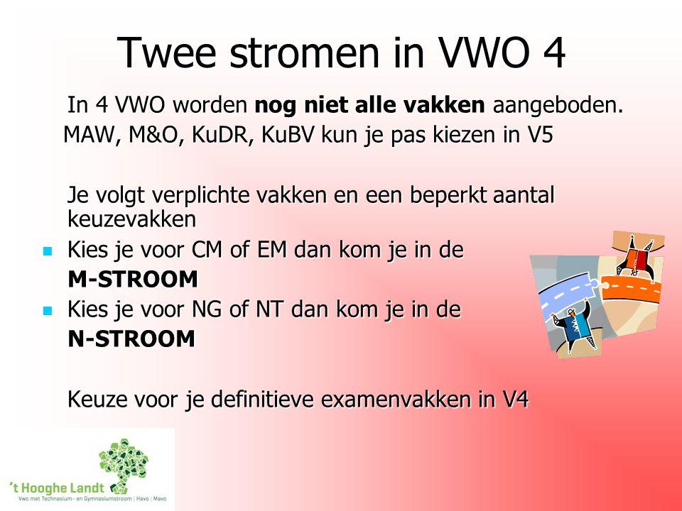 Twee stromen in VWO 4 In 4 VWO worden nog niet alle vakken aangeboden.