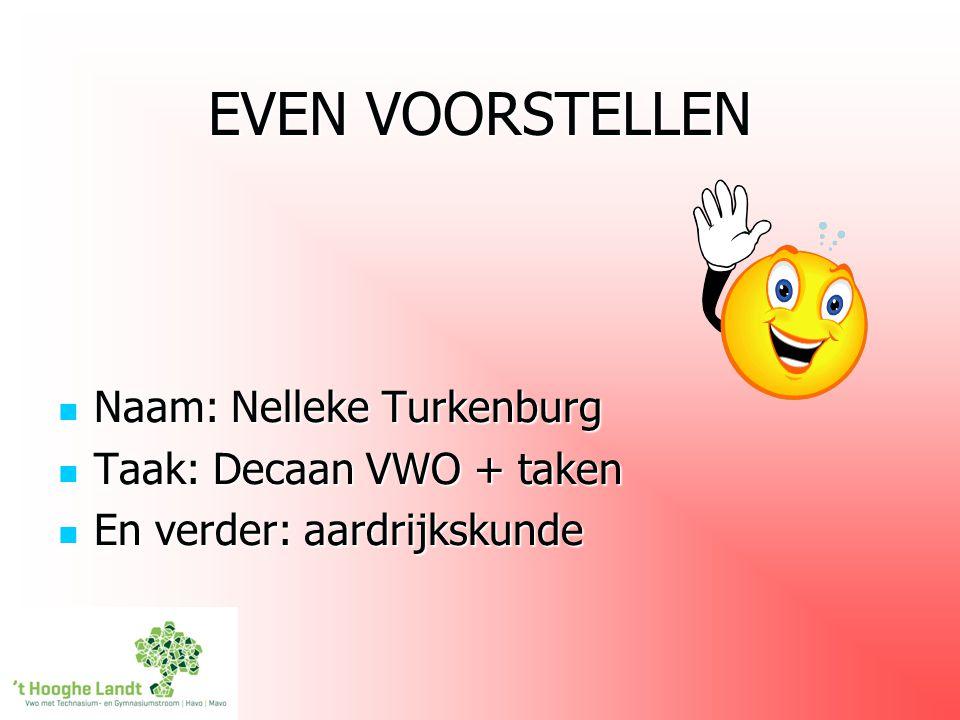 EVEN VOORSTELLEN Naam: Nelleke Turkenburg Taak: Decaan VWO + taken