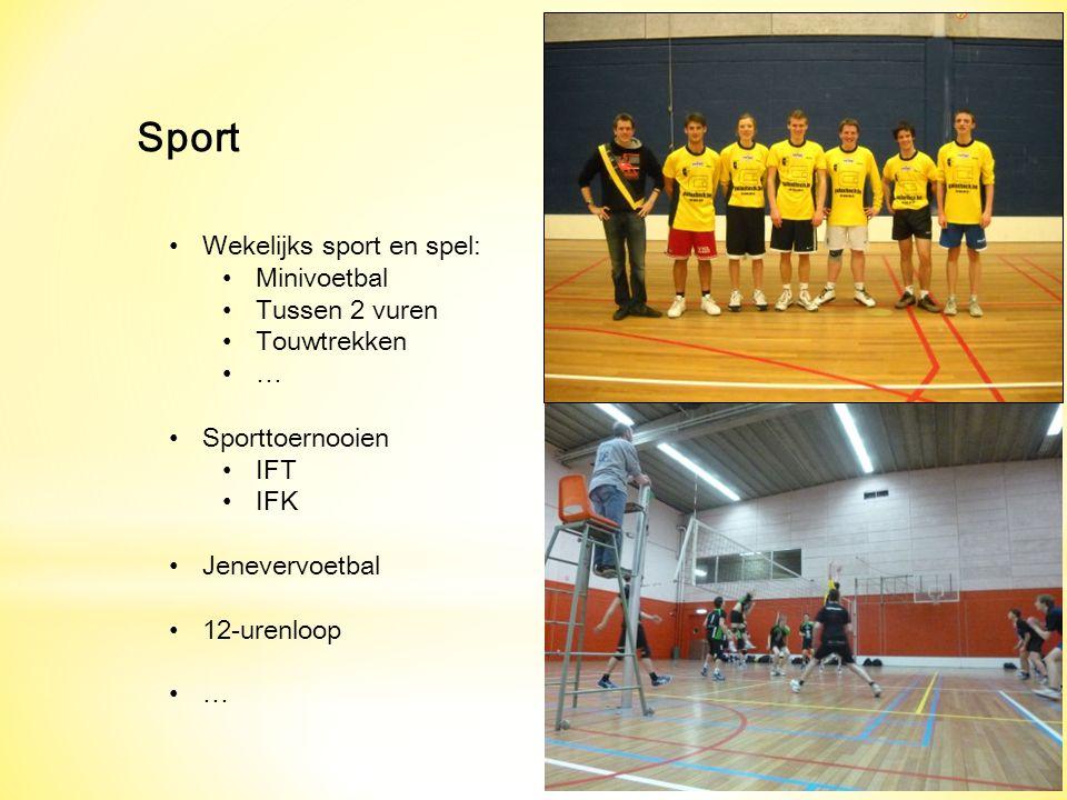 Sport Wekelijks sport en spel: Minivoetbal Tussen 2 vuren Touwtrekken