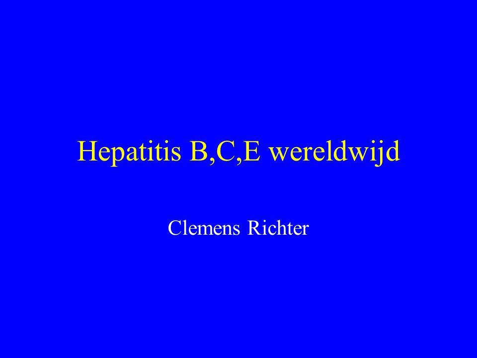 Hepatitis B,C,E wereldwijd