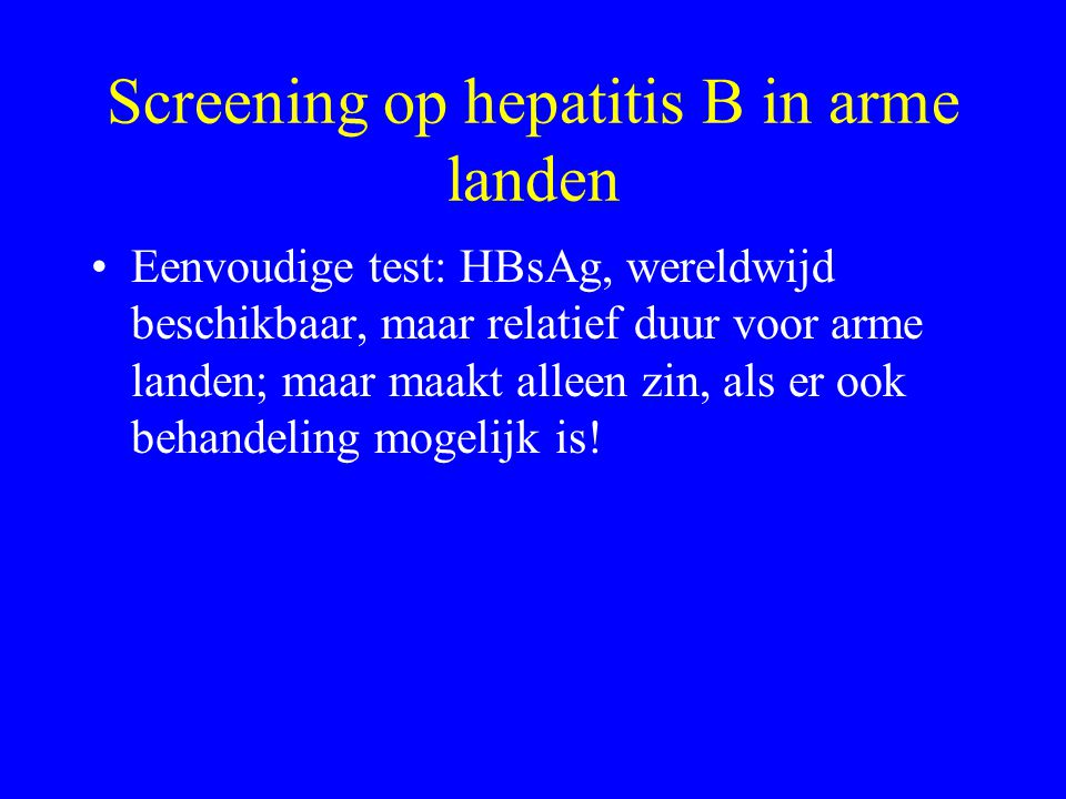 Screening op hepatitis B in arme landen
