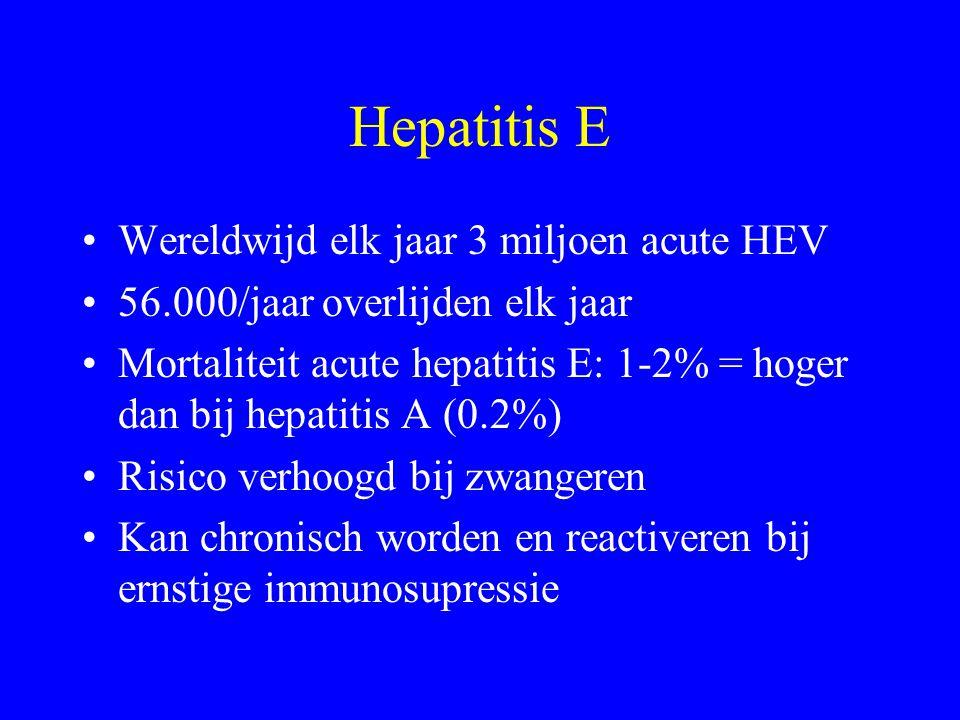 Hepatitis E Wereldwijd elk jaar 3 miljoen acute HEV