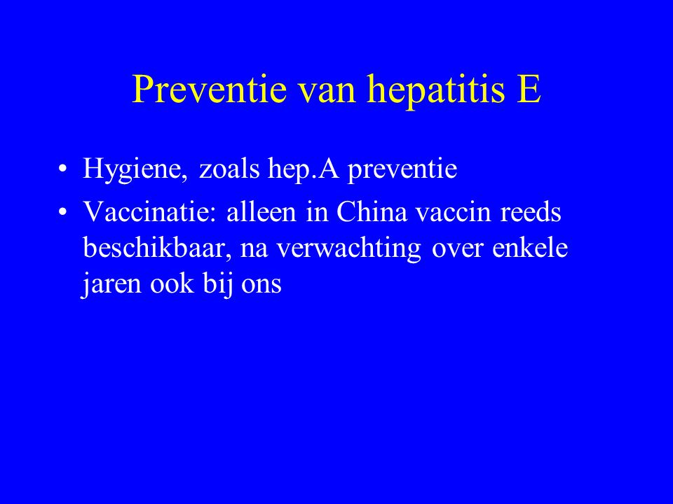 Preventie van hepatitis E