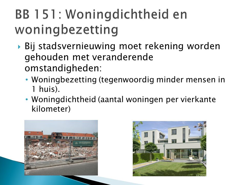BB 151: Woningdichtheid en woningbezetting