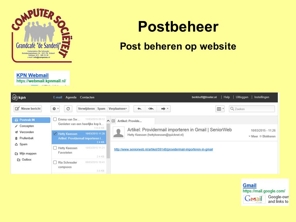 Post beheren op website