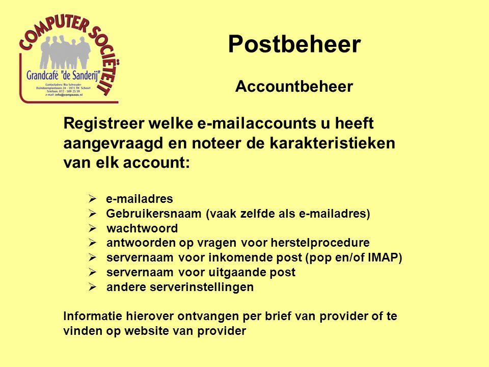 Postbeheer Accountbeheer