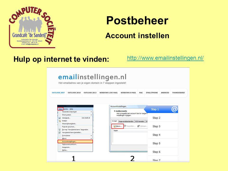 Postbeheer Account instellen Hulp op internet te vinden: