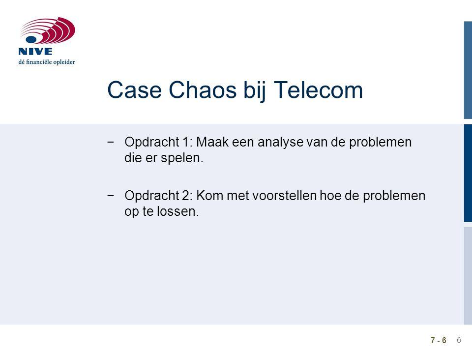 Case Chaos bij Telecom Opdracht 1: Maak een analyse van de problemen die er spelen. Opdracht 2: Kom met voorstellen hoe de problemen op te lossen.