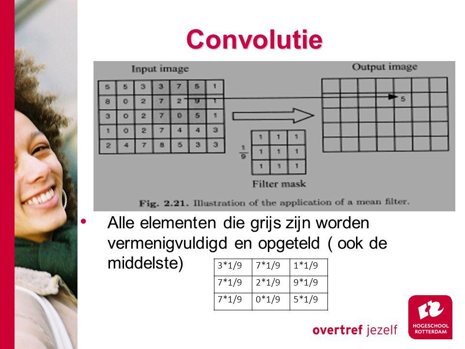 Convolutie Alle elementen die grijs zijn worden vermenigvuldigd en opgeteld ( ook de middelste) 3*1/9.
