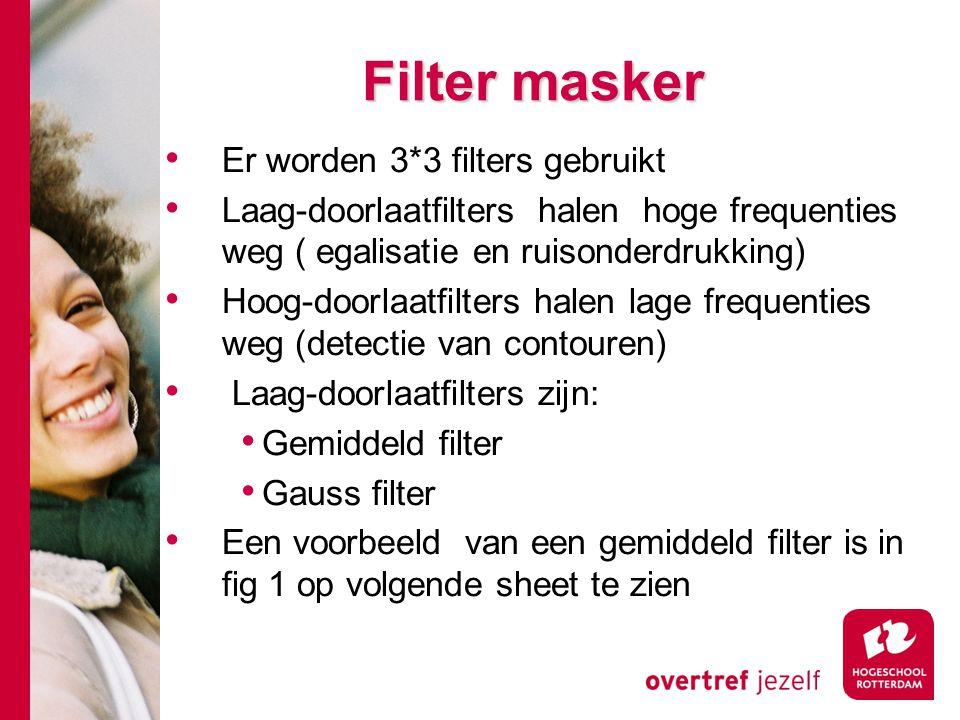 Filter masker Er worden 3*3 filters gebruikt