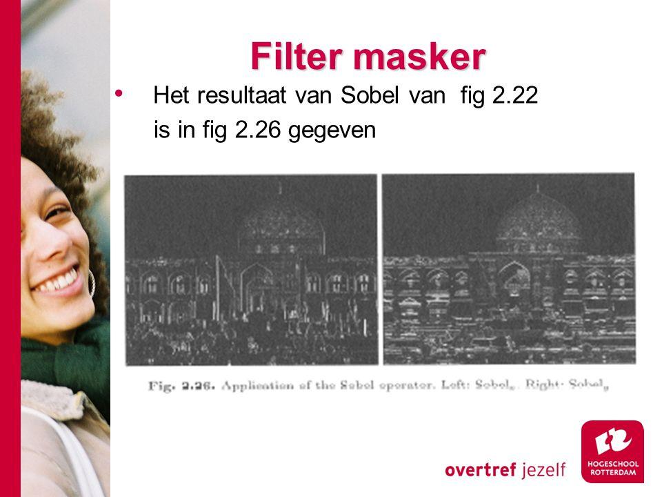 Filter masker Het resultaat van Sobel van fig 2.22