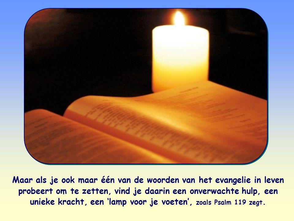 Maar als je ook maar één van de woorden van het evangelie in leven probeert om te zetten, vind je daarin een onverwachte hulp, een unieke kracht, een 'lamp voor je voeten', zoals Psalm 119 zegt.