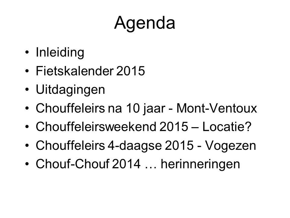 Agenda Inleiding Fietskalender 2015 Uitdagingen