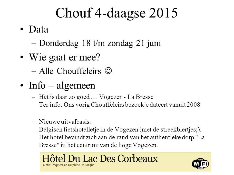 Chouf 4-daagse 2015 Data Wie gaat er mee Info – algemeen