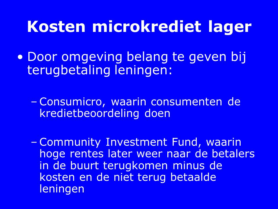 Kosten microkrediet lager