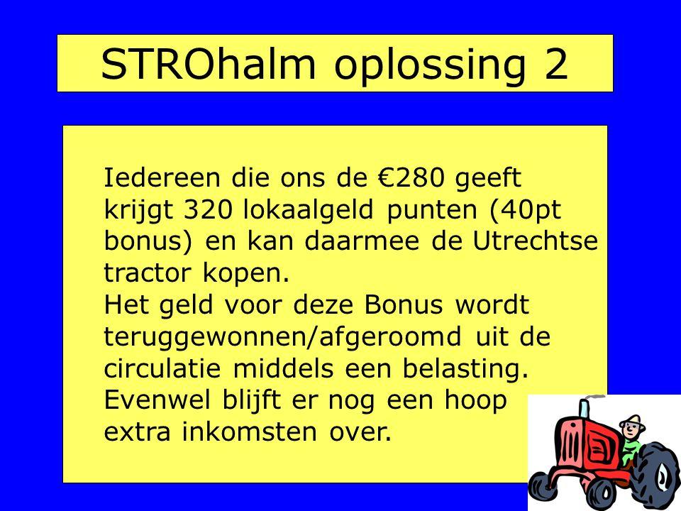 STROhalm oplossing 2 Iedereen die ons de €280 geeft krijgt 320 lokaalgeld punten (40pt bonus) en kan daarmee de Utrechtse tractor kopen.