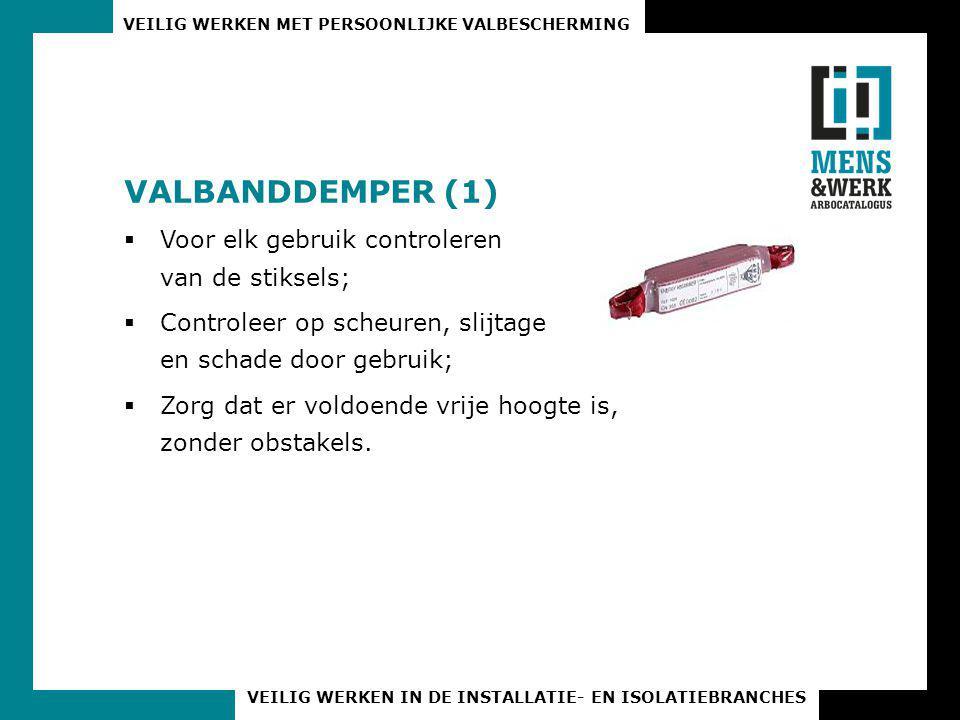 VALBANDDEMPER (1) Voor elk gebruik controleren van de stiksels;