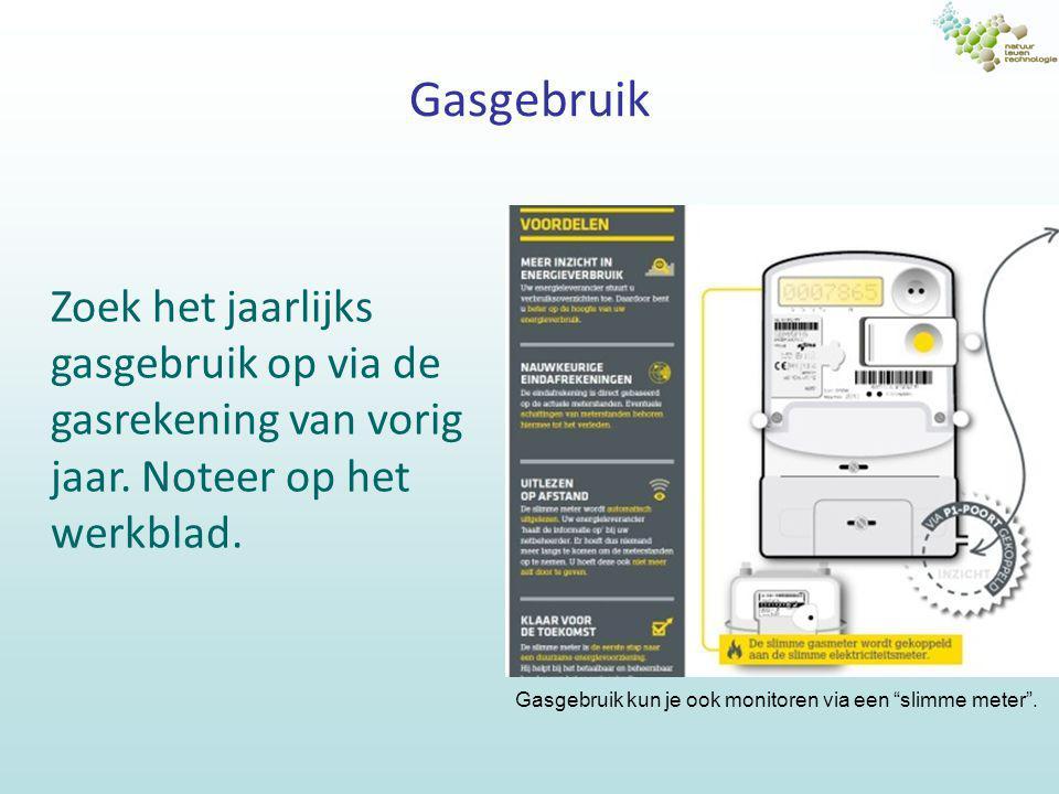 Gasgebruik Zoek het jaarlijks gasgebruik op via de gasrekening van vorig jaar. Noteer op het werkblad.