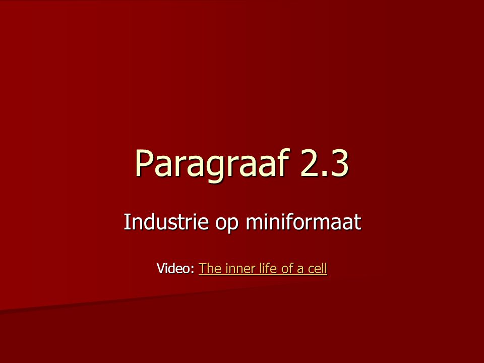 Industrie op miniformaat Video: The inner life of a cell