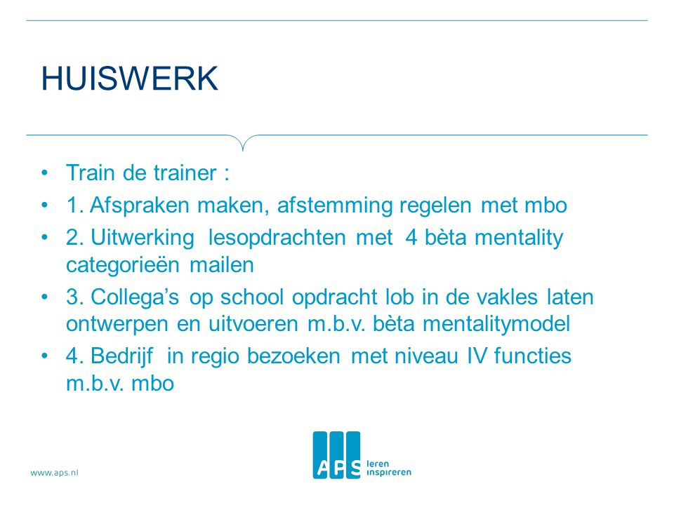 Huiswerk Train de trainer :