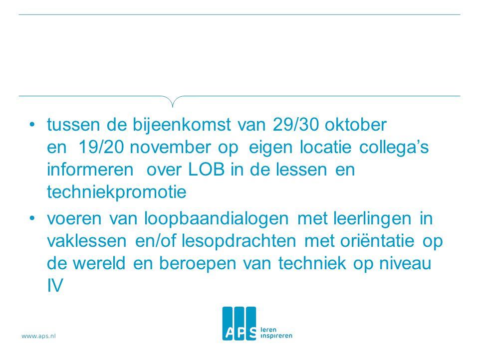 tussen de bijeenkomst van 29/30 oktober en 19/20 november op eigen locatie collega's informeren over LOB in de lessen en techniekpromotie