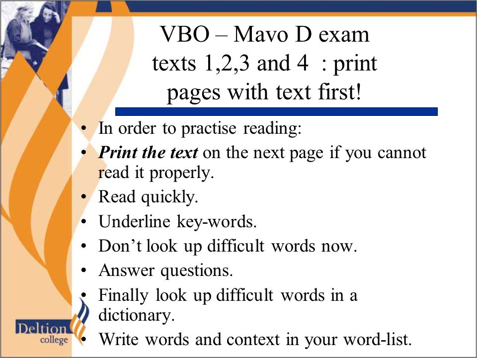 VBO – Mavo D exam texts 1,2,3 and 4 : print pages with text first!