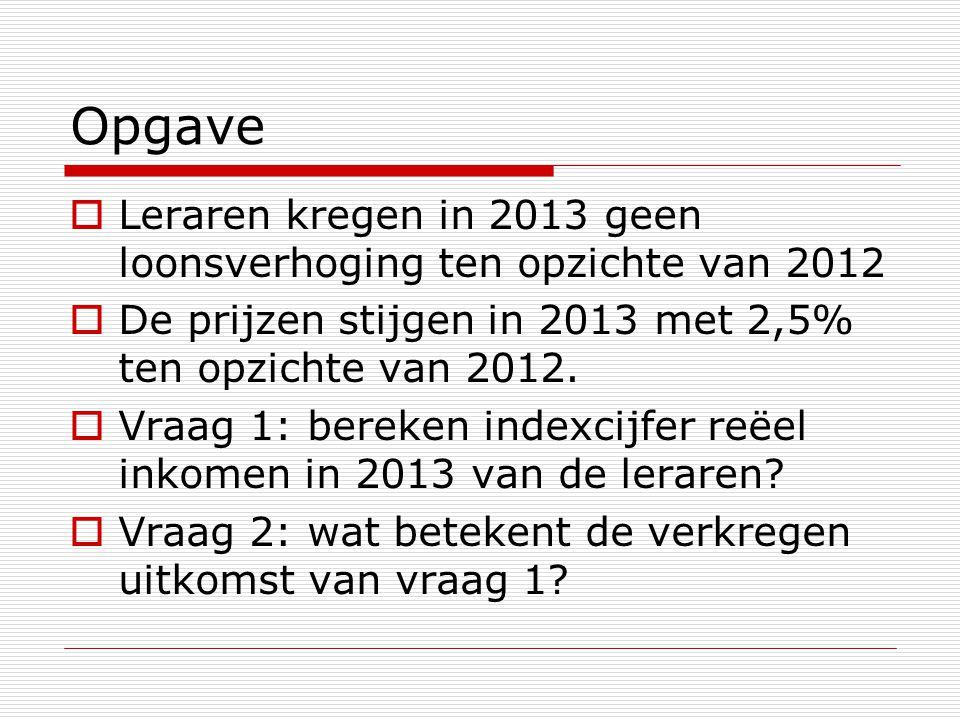 Opgave Leraren kregen in 2013 geen loonsverhoging ten opzichte van 2012. De prijzen stijgen in 2013 met 2,5% ten opzichte van 2012.