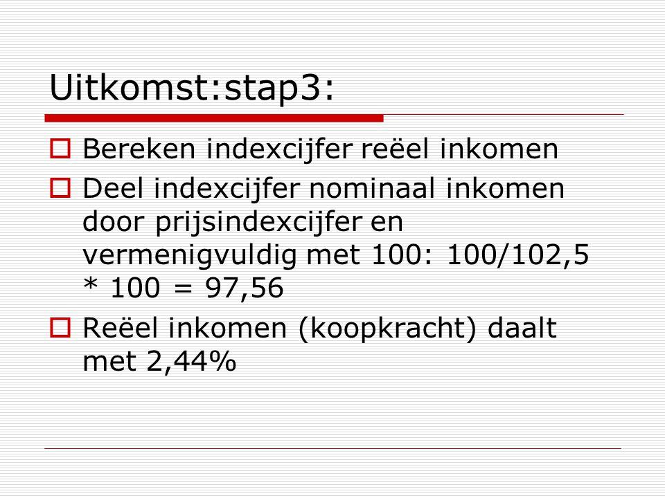 Uitkomst:stap3: Bereken indexcijfer reëel inkomen