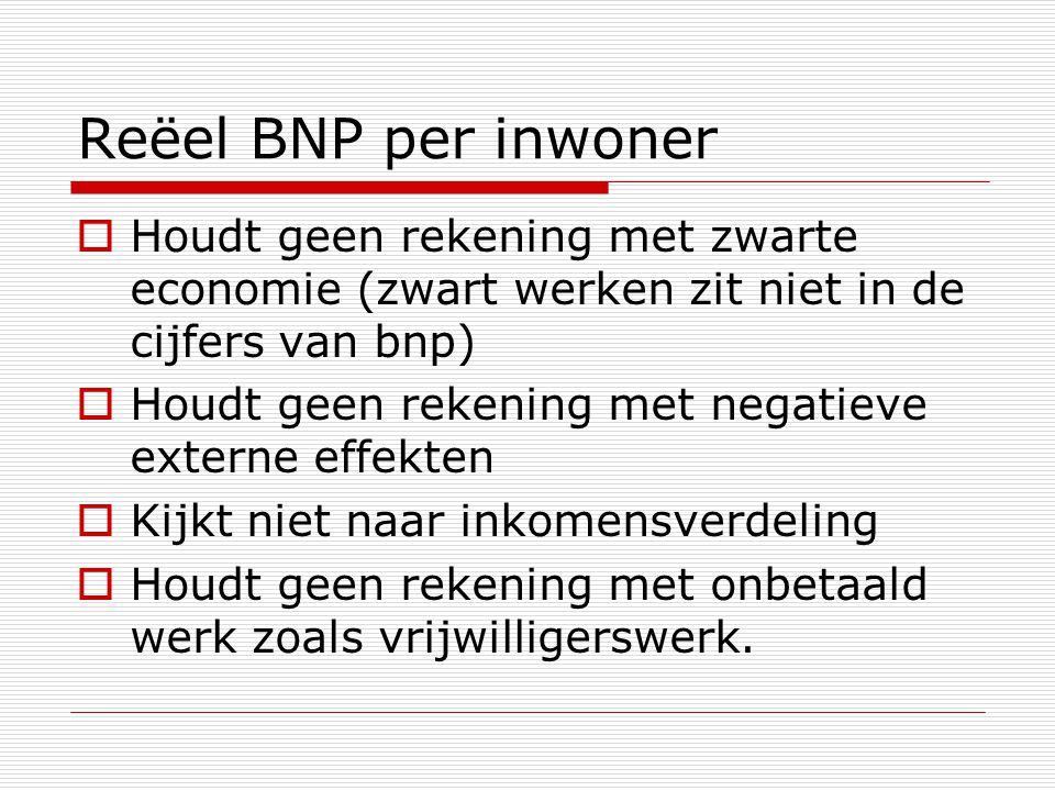 Reëel BNP per inwoner Houdt geen rekening met zwarte economie (zwart werken zit niet in de cijfers van bnp)