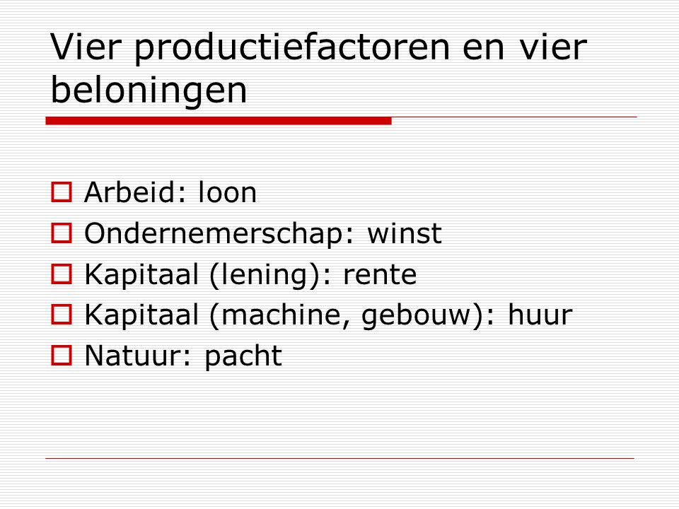 Vier productiefactoren en vier beloningen