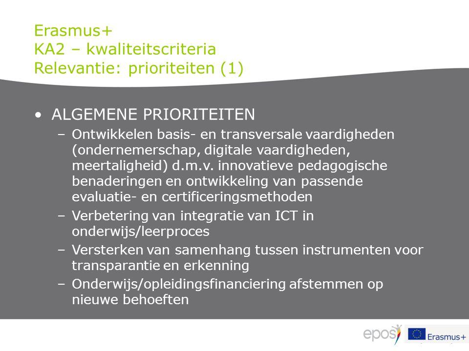 KA2 – kwaliteitscriteria Relevantie: prioriteiten (1)