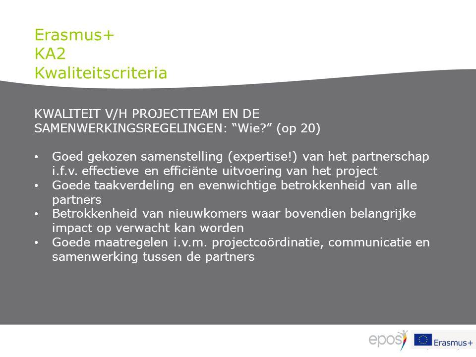 Erasmus+ KA2 Kwaliteitscriteria