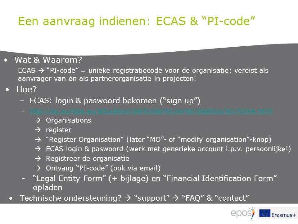 Een aanvraag indienen: ECAS & PI-code
