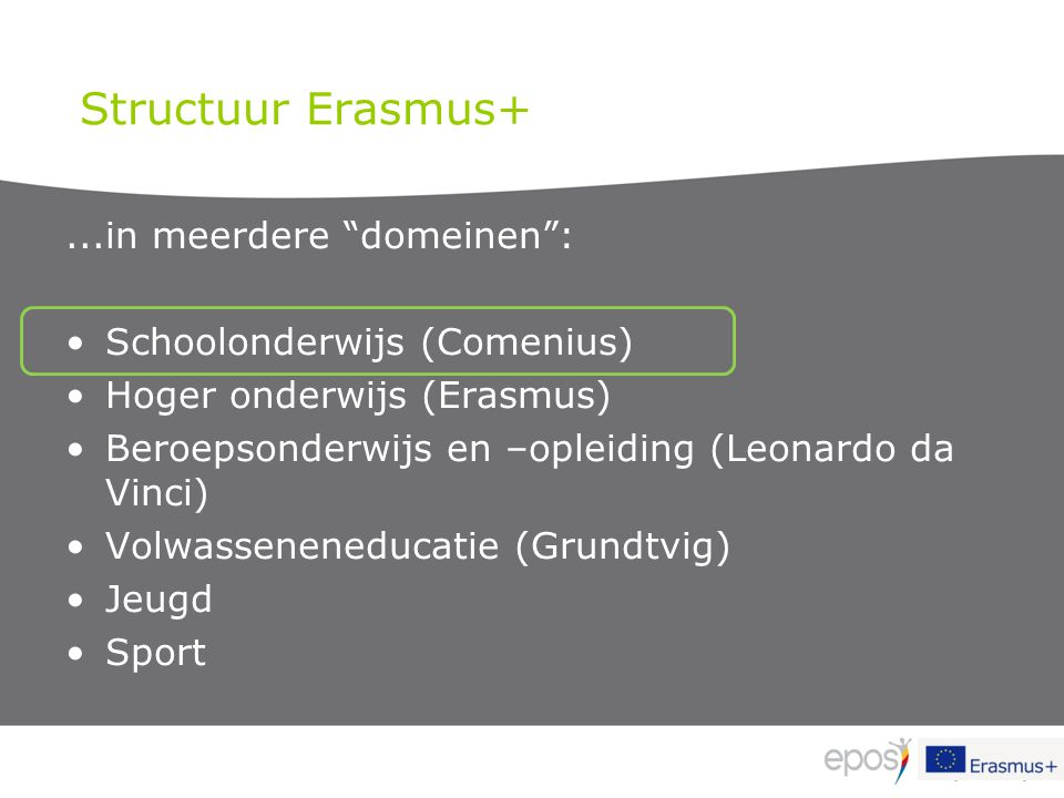Structuur Erasmus+ ...in meerdere domeinen :