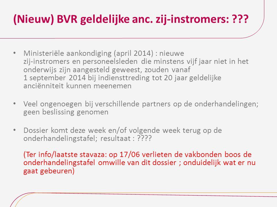 (Nieuw) BVR geldelijke anc. zij-instromers: