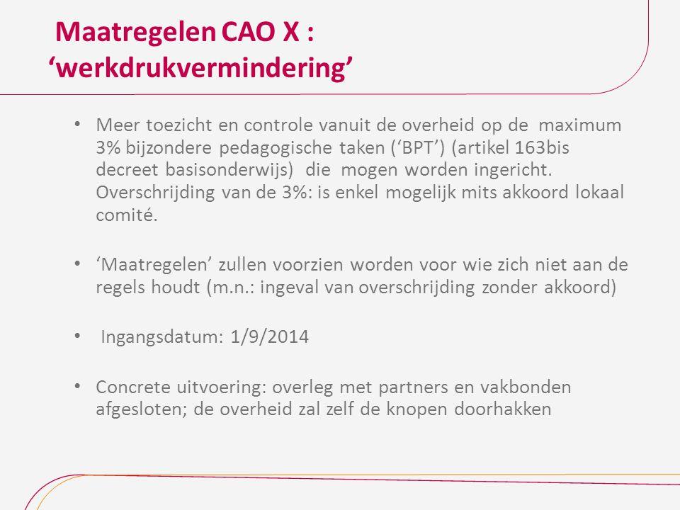 Maatregelen CAO X : 'werkdrukvermindering'