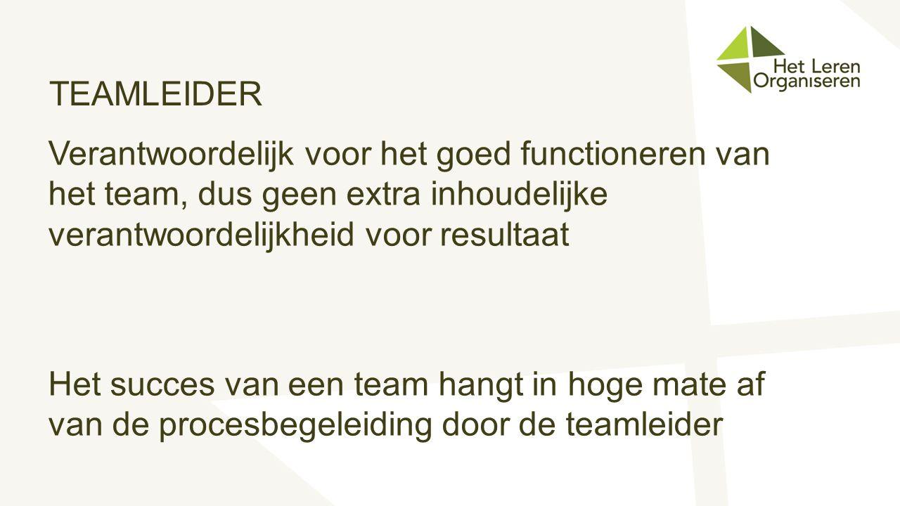 TEAMLEIDER Verantwoordelijk voor het goed functioneren van het team, dus geen extra inhoudelijke verantwoordelijkheid voor resultaat.
