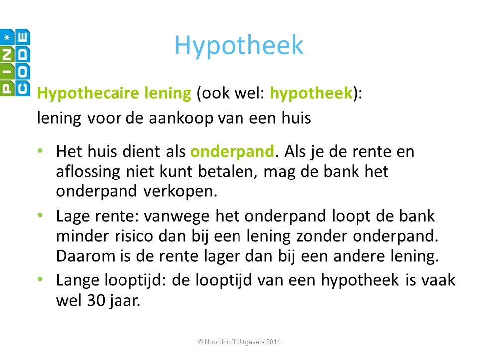 Hypotheek Hypothecaire lening (ook wel: hypotheek):