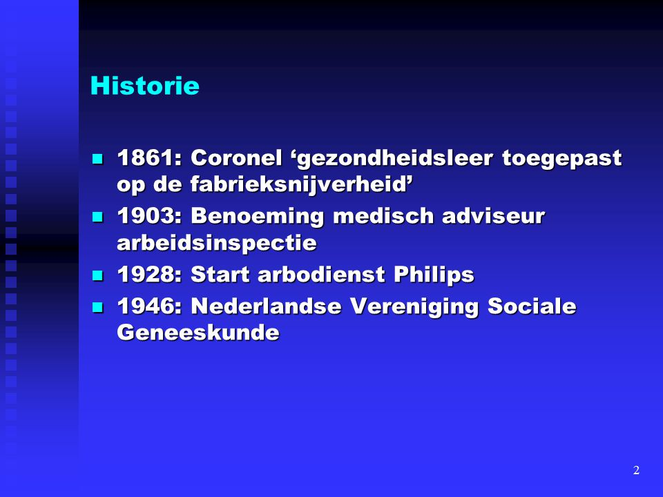 Historie 1861: Coronel 'gezondheidsleer toegepast op de fabrieksnijverheid' 1903: Benoeming medisch adviseur arbeidsinspectie.