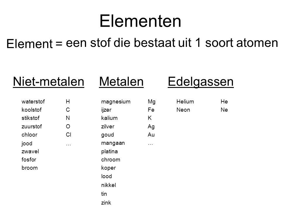 Elementen Element = een stof die bestaat uit 1 soort atomen
